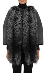 Barneys New York Women's Fur Front Wool Cashmere Coat Dark Grey