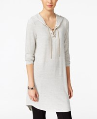 G.H. Bass And Co. Hooded Lace Up Tunic Heather Grey Dusk Combo