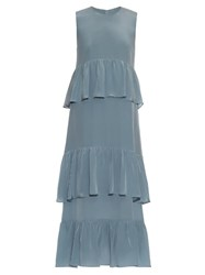 Raey Tiered Ruffle Silk Georgette Dress Blue