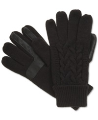 Isotoner Signature Touchscreen Enabled Solid Triple Cable Knit Palm Gloves Black