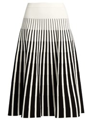Tomas Maier Stripe Intarsia Fluted Skirt Black White