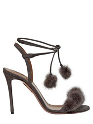 Aquazzura 105Mm Wild Russian Suede And Mink Sandals