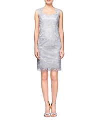 Kay Unger Silver Lace Sheath