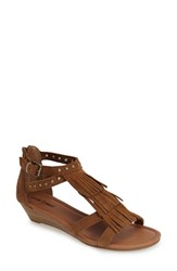 Women's Minnetonka 'Monaco' Studded Fringe Suede Sandal Dusty Brown