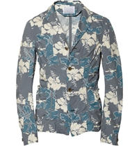 Kolor Unstructured Floral Print Cotton Blazer Gray