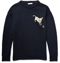 J.W.Anderson Embroidered Knitted Cotton Sweater Blue