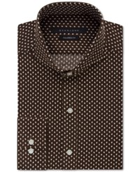 Sean John Men's Classic Fit Chocolate Diamond Pattern Dress Shirt