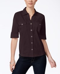 Styleandco. Style Co. Petite Jersey Utility Shirt Only At Macy's Dried Plum