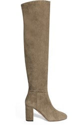 Aquazzura London Suede Over The Knee Boots Beige