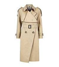 Burberry Runway Oversized Cord Trim Trench Coat Female Camel