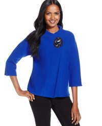 Jm Collection Petite Embellished Crossover Coat Only At Macy's Bright Blue