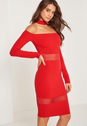 Missguided Mesh Panel Bardot Choker Midi Dress Red Red