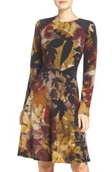 London Times Women's 'Falling Leaves' Print Fit And Flare Dress