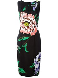 Marco Bologna Flower Print Fitted Dress Black