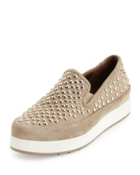 Mickey Studded Suede Sneaker Taupe Donald J Pliner