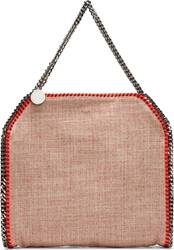 Stella Mccartney Red Neon Trimmed Woven Babybella Tote Bag