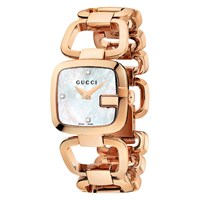 Gucci Womens G Diamond Set Mother Of Pearl Dial Bracelet Strap Watch Rose Gold White