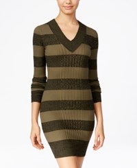 Planet Gold Juniors' Striped Sweater Dress Green Black