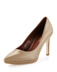 Cole Haan Idala Snake Embossed Pointed Toe Pump Dune