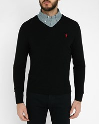 Polo Ralph Lauren Black Merino V Neck Sweater