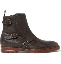 Alexander Mcqueen Grained Leather Monk Strap Boots Black