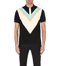 Fred Perry Chevron Print Cotton Pique Polo Shirt Black