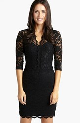 Karen Kane Women's Scalloped Lace V Neck Dress Black