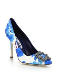 Manolo Blahnik Hangisi Floral Print Pumps Red Blue