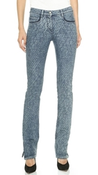Wgaca Chanel Quilted Floral Jeans Blue