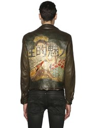 Php Hand Painted Leather Motorcycle Jacket
