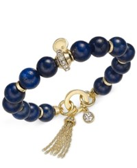 Charter Club Semi Precious Large Round Bead Crystal Enhanced Tassel Charm Stretch Bracelet Only At Macy's Gold