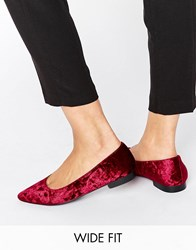 Asos Lacey Wide Fit Pointed Ballet Flats Oxblood Velvet Red