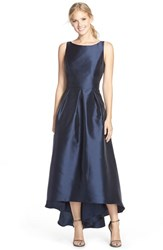 Women's Alfred Sung High Low Hem Sateen Twill Open Back Gown