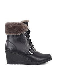 Ugg Janney Leather And Sheepskin Lace Up Wedge Booties Black