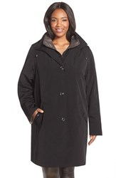 Plus Size Women's Gallery Two Tone Long Silk Look Raincoat