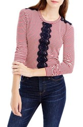 J.Crew Women's Lace Trim Stripe Long Sleeve Tee