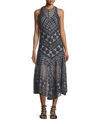 Veronica Beard Laguna Geo Lace Midi Dress Black White Black White
