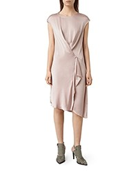 Allsaints Breeze Draped Satin Dress Rose Pink