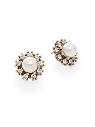 Saks Fifth Avenue Framed Button Earrings Antique Gold