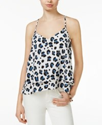 Bar Iii Tiered Animal Print Top Only At Macy's Washed White