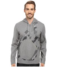 Calvin Klein Long Sleeve Solid Ponte Ck Printed Q Zip Hoodie Medium Grey Heather Men's Long Sleeve Pullover Gray