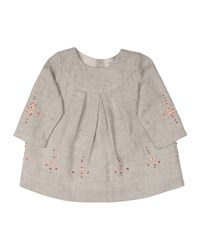 Bonpoint Embroidered Cotton Poplin Shift Dress Gray