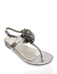 Me Too Benita Rosette Leather Thong Sandals Pewter