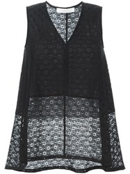 See By Chloe Floral Lace Tank Top Black