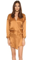 Mason By Michelle Mason Oversized Wrap Mini Dress Copper
