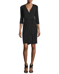 Diane Von Furstenberg New Julian Two Matte Jersey Wrap Dress Black Women's Size 0
