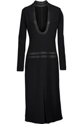 Tom Ford Leather Trimmed Cady Midi Dress Black