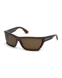 Tom Ford Sasha Square Plastic Sunglasses Brown