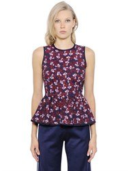 Mother Of Pearl Floral Printed Stretch Jersey Peplum Top