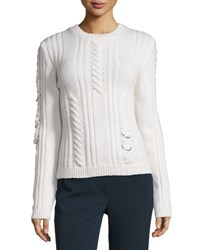 Thierry Mugler Pierced Cable Knit Sweater Off White Open Off White